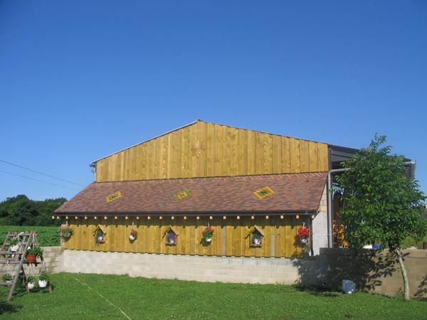 Appenti tuiles plates et bardage bois sur hangar