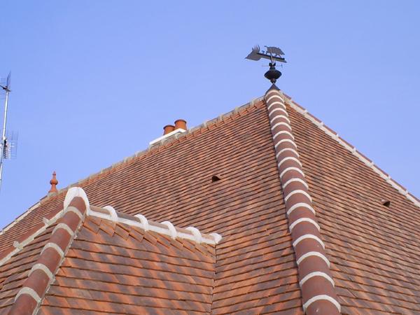 Pavillon à Choisey (39) - Couverture et scellement faitage crête de coq et girouette en zinc