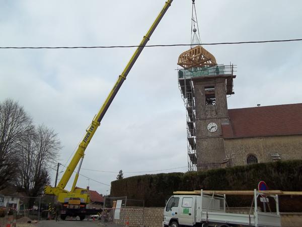 Eglise de La Chassagne (39) - Levage du clocher
