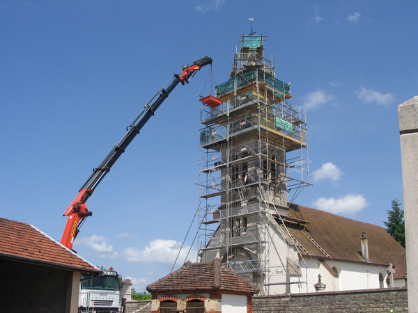 Eglise St-Symphorien (21) - Echafaudage du clocher