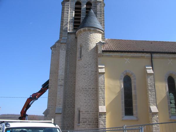 Eglise de Semezanges (21) - Enduits des façades et rejointement des pierres apparentes
